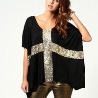 Hot Sale 2015 New  Fashion Summer Cross Pattern Sequined T Shirt Batwing Sleeve Top Tees Women Short-Sleeved T-Shirt Big Size