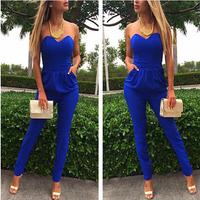 Women new blue leakage shoulder pocket sexy Siamese trousers