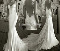 Sexy Mermaid Trumpet Backless Wedding Dresses V-Neck Spaghetti strap Court Train Lace Bridal Dresses Custom