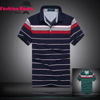 2015 NEW spring men polo shirt fashion brand men's shirts striped cotton casual men tops size M/L/XL/XXL
