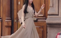 2014 Promotional new V-neck chiffon pleated dress long section of the Bohemian dress dress 6069 free of charge