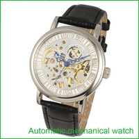2015 Freeshipping New With Tags Real Hot Sale Freeshipping Glass Round Watches Watch Men Automatic Mechanical Hollow Male Table