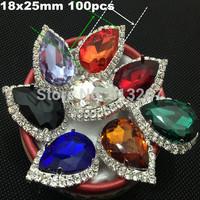 18x25mm 100pcs Vintage Rhinestones Buttons Flatback Glass Crystal Decorative Button for Children Headband Bowknot Accessories