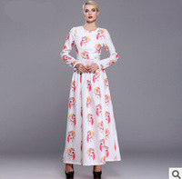 2015 spring and summer dress ladies put on a large round neck dress personalized printing large size women
