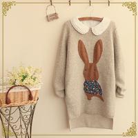 Spring women's applique rabbit irregular sweep sweater o-neck sweater