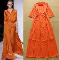 2015 Summer European Runway Long Maxi Designer Dress Women's Turn Down Collar 3/4 Sleeved Solid Casual A-Line Full Length Dress