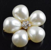 Free shipping 20pcs/ lot 20mm Pearl Flower Button Flatback Alloy Rhinestone for Craft DIY Garment Accessories Wedding decoration