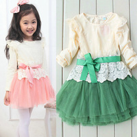 Girls Kids Lovely Tulle Dresses Long Sleeve Dress Lace Bowknot Belt Princess Dress 2-7Y