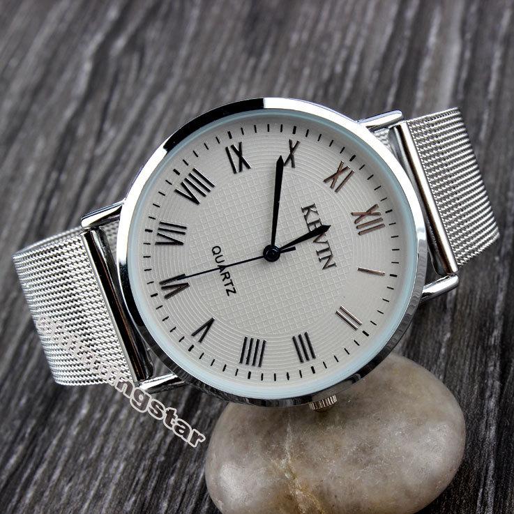 Silver Metal Iron Net Web Mesh Band Fashion Simple Quartz Wrist Watch Hours Mens Womens Unisex(China (Mainland))