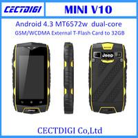 New waterproof phone mini v10 discovery smart phone MT6572w  dual-core Android 4.3 Jelly Bean  mini phone cheap phone wifi