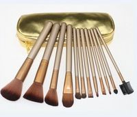 HOT NEW Makeup Brushes Nude 12 piece Professional Brush sets Cosmetic Make Up Gold package(100 pcs/lot)+gift