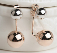 2015 New Korean Jewelry Double hanging ball spherical pendant imitation pearl rose gold plated earring