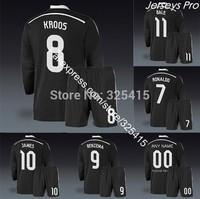 Real madrid black long sleeve soccer jerseys uniforms kit cristiano ronaldo gareth bale toni kroos karim benzema james rodriguez