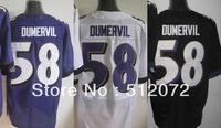 Baltimore #58 Elvis Dumervil Men's Authentic Elite Team Purple/White/Alternate Black Football Jersey