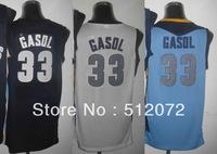 Memphis #33 Marc Gasol Men's Authentic Home White/Road Navy/Alternate Blue Basketball Jersey