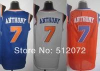 New York #7 Carmelo Anthony Men's Authentic Home White/Road Blue/Alternate Orange Basketball Jersey