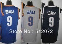 Oklahoma City #9 Serge Ibaka Men's Authentic Home White/Road Blue/Alternate Navy Basketball Jersey