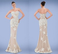 Beautifully Mermaid Trumpet Prom Dresses Sweetheart Neck Sleeveless Lace Applique Floor Length Evening Gowns Custom