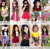 2015 summer baby girls clothing set top+flower skirt 2pcs children clothes suit kids girl dress set 10 style baby kids clothes