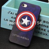2015new Fashion Captain America design phone case for iphone 4 4s case plastic case