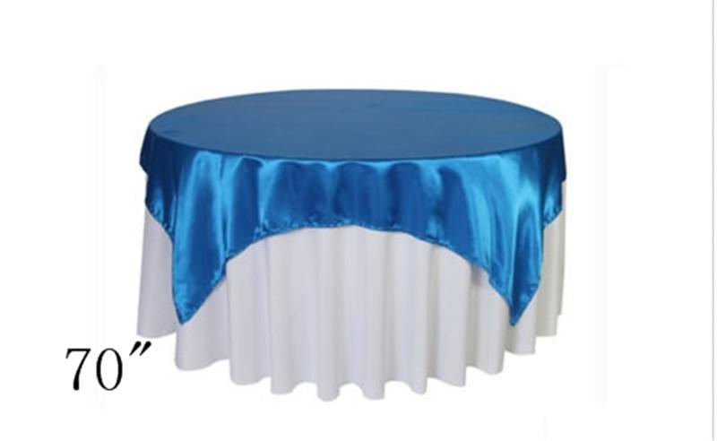 "10pcs 70""*70"" royal blue Factory First Qaulity Satin Wedding Table Overlay Tablecloth(China (Mainland))"