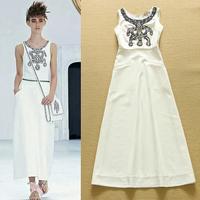 High End 2015 Summer New Luxury Brand Runway Long Pearls Dresses Woman Elegant Sleeveless White Casual Ankle Length Dresses