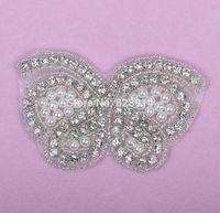 10pcs/lot Butterfly Design pearl Beaded Applique for Wedding Dress Sash Rhinestones beaded Applique Crystal Applique