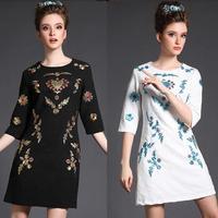 L-5XL Brand 2015 Spring Women Luxury Embroidery Jacquard Half Sleeve White Black Vintage Dresses Plus Size Dress Vestidos 4XL