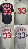 Cleveland #33 Nick Swisher Men's Authentic Cool Base Alternate Navy/Alternate Cream/Home White/Road Grey  Baseball Jersey