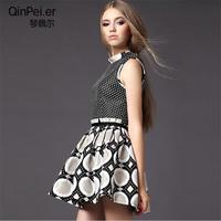 2014 autumn female fashion jacquard a-line skirt sleeveless tank dress one-piece dress