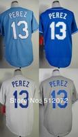 Kansas City #13 Salvador Perez Men's Authentic Cool Base Alternate Home Blue/Alternate Navy/Home White/Road Grey Baseball Jersey