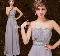 Free ship ladies womens silver grey slim evening dress off shoulder beading waist pleated long dress