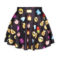 New Fashion Funny Bubble Skirt Summer Mini Skirt Black Color Emoji Skirt For Women