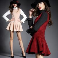 2015 spring slim turtleneck long-sleeve ruffle fashion skirt wool one-piece dress