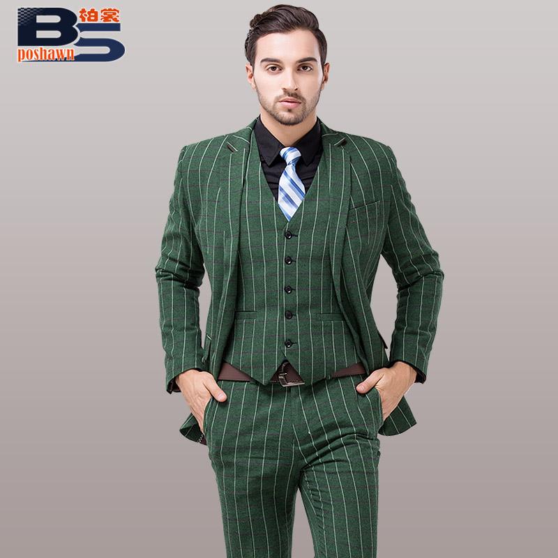Male suit slim the groom wedding dress suits men green stripe jpg