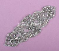wholesales Luxury Vintage 5pcs/lot new Arrival Glass Stone Beaded Applique 15*5.5cm for Wedding Dress Sash Applique Crystal