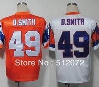 Denver #49 Dennis Smith Men's Authentic Throwback 1994 Team Orange/White Football Jersey