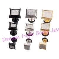 Barbell Earring  Frosted 316L Stainless Steel Crystal Black Gold Steel 6mm 8mm 11mm Men Ear Stud Women Fashion Jewelty 60pcs