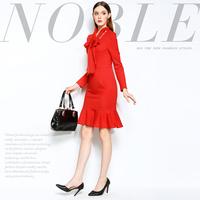 Mi15012227 fashion brief three-dimensional bow slim fish tail one-piece dress
