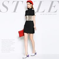 Mi15012232 fashion brief serpentine pattern colorant match slim one-piece dress