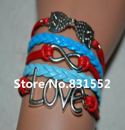 6Pcs New Items Handmade Learher Rope Charm Statement Bracelet Bangles Pendants Double Owl LOVE Infinity Bracelet Women Jewelry(China (Mainland))