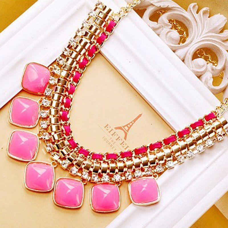 2015 Hot sale New Fashion Fluorescence Color Square Stones Rhinestone Jewelry Alloy Statement Necklace Pendant Accessories(China (Mainland))