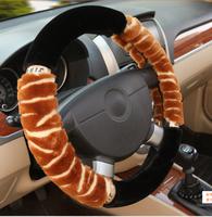 New Warm winter autumn car steering wheel cover steering wheel hubs Zebra Fur red black begin diameter 38CM general model