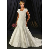 Nitree Short Sleeve A-line Princess Embroidery/ Flower Crystal Empire Sweep Train Wedding Dreaaes Bridal Gown