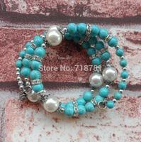 little blue solid beads bracelet tibet style silver charming chunky bracelet lady,women Multi Strand Stretch Bracelet hotter !!