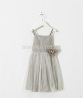 2015 Children Dot Mesh Flower Sling Dress, Girls Bridemaids Party Brand Dresses , 5 pcs/lot,Wholesale