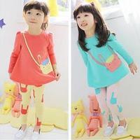 New 2015 Baby Girls clothing Set brand clothing Girls Spring cartoon long suit girls baby set suits kids clothing sets FF889