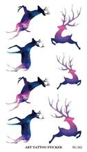 RC2262 Waterproof Tattoos Sticker Color Tuzki Sika Colorful Deer Pattern Temporary Tattoo Stickers Body Art Flash Tattoo Foil