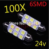 100pcs 24v 6SMD White LED 41 39 36 31mm Car Dome Festoon Interior Light Bulbs Auto Car Festoon Licence Plate Dome Roof SV8.5 C5W