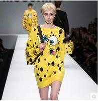 Free Shipping runway fashion women's cute o-neck long sleeve knitted SpongeBob pattern pullover long sweater dress knitwear